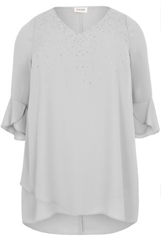 Blouses & Shirts Grey Embellished Layered Chiffon Top With Flute Sleeves 130167