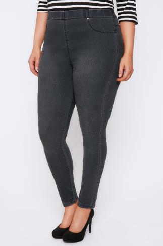 Grey Faded Denim Jeggings