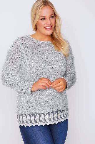 Grey Fancy Knit Jumper With Lace Hem