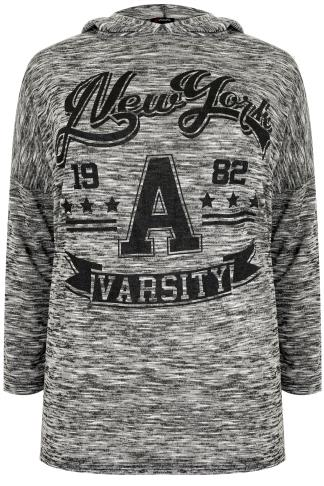 "Grey Fine Knit ""New York Varsity"" Hooded Jumper"