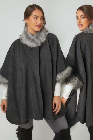 Wraps & Capes Grey Fleece Wrap With Faux Fur Trims 120090