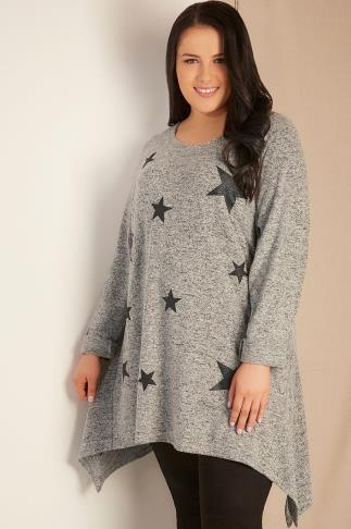 Grey Glitter Star Print Jumper With Hanky Hem