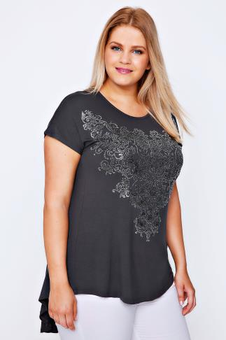 Day Tops Grey Godet Back Top With Filigree Caviar Bead Detail 102044