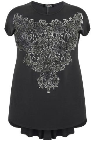 Grey Godet Back Top With Filigree Caviar Bead Detail