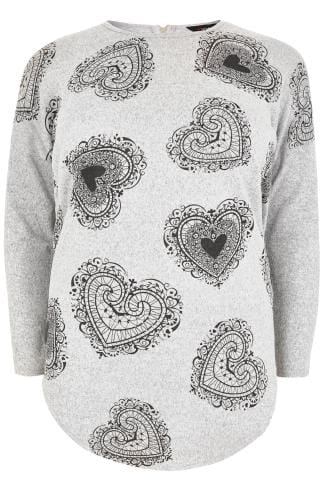 Casual Oberteil Grey Heart Print Brushed Fine Knit Top With a Zip Up Back 132292