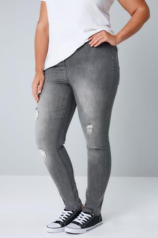 Skinny Grey High Waisted Denim Skinny Jeans With Rip Detail 100192