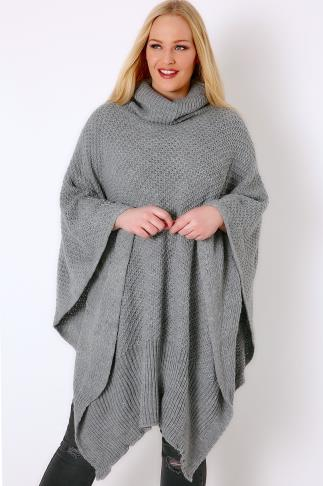 Ponchos & Capes Grey Knitted Cowl Neck Poncho 102514