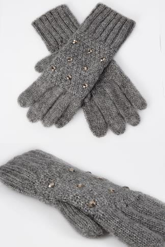 Gloves Grey Knitted Gloves With Diamante Detail 152321