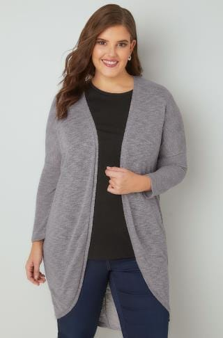 Cardigans Grey Knitted Longline Cocoon Cardigan With Drop Shoulder Sleeves 134068