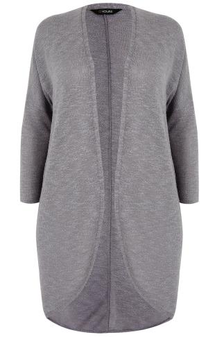 Grey Knitted Longline Cocoon Cardigan With Drop Shoulder Sleeves