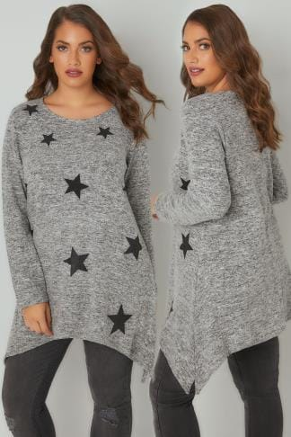 Knitted Tops Grey Knitted Top With Textured Glitter Star Print & Hanky Hem 132425