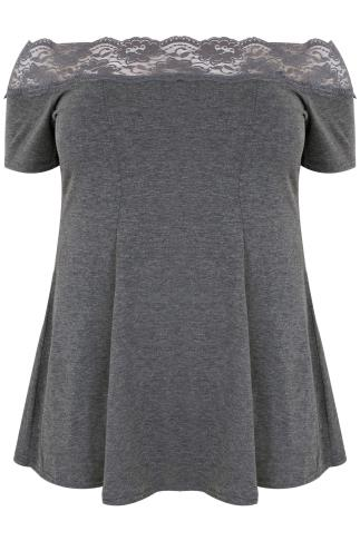 Grey Lace Bardot Top With Short Sleeves