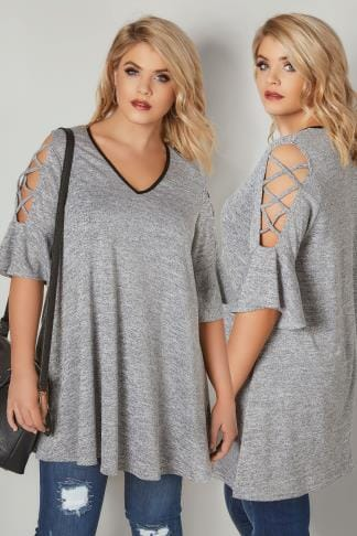 Day Tops Grey Lace Up Cold Shoulder Top With PU Neckline & Flute Sleeves 132698