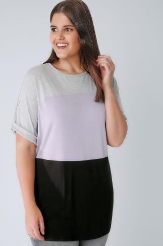 Grey, Lilac & Black Colour Block Jersey Top 132206