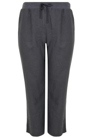 Grey Linen Mix Pull On Wide Leg Trousers With Pockets