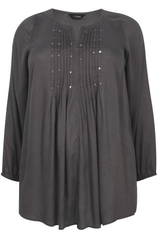 Grey Long Sleeve Blouse With Pinktuck & Beaded Neckline