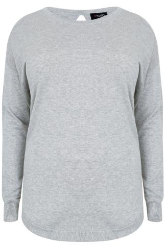 Grey Long Sleeve Jumper with Keyhole Back Detail
