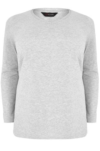 Grey Long Sleeved V-Neck Jersey Top