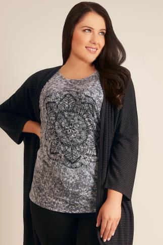 Grey Marble Mandala Print Top With Cut Out Hole Detail Sleeves 132116