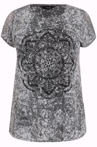 Grey Marble Mandala Print Top With Cut Out Hole Detail Sleeves