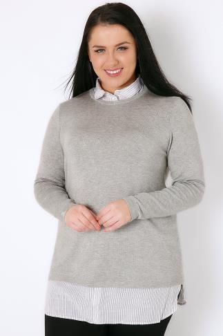 Jumpers Grey Marl 2 in 1 Jumper Layered With Stripe Print Shirt Detail 102736