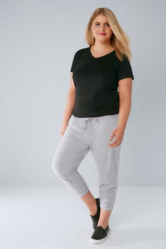 Grey Marl Basic Cotton Jersey Cropped Joggers With Fold Detail 126011