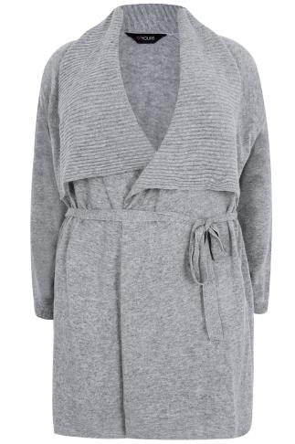 Grey Belted Knit Cardigan With Ribbed Collar