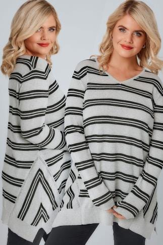 Jumpers Grey Marl & Black Stripe Fine Knit Longline Jumper 124047