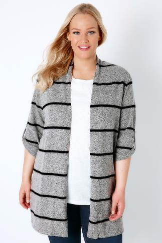 Cardigans Grey Marl & Black Stripe Longline Edge to Edge Cardigan 134070