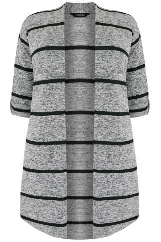 Grey Marl & Black Stripe Longline Edge to Edge Cardigan