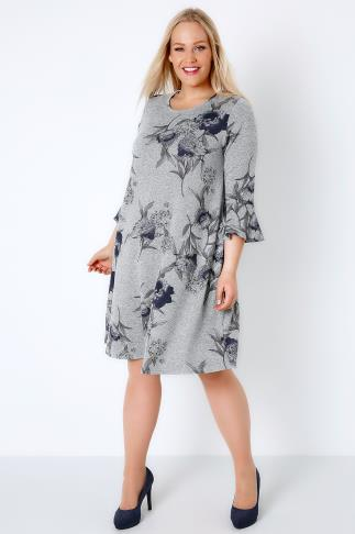 Swing & Shift Dresses Grey Marl & Blue Floral Print Swing Dress With Flute Sleeves 136078