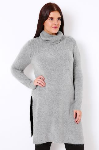 Grey Marl Boucle Knitted Tunic With Cowl Neck