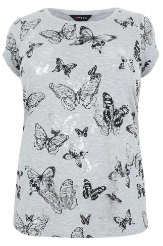 Grey Marl Butterfly Print T-Shirt With Foil Detail & Dipped Hem