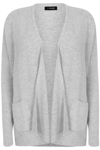 Grey Marl Fine Knitted Ribbed Cardigan