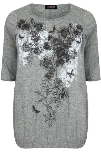 Grey Marl Floral & Butterfly Print Bubble Hem T-Shirt
