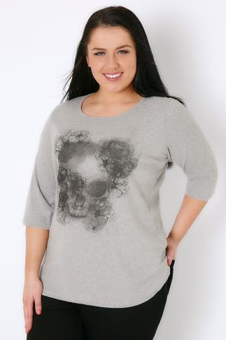 Grey Marl Floral Skull Print T-Shirt With 3/4 Length Sleeves 132133