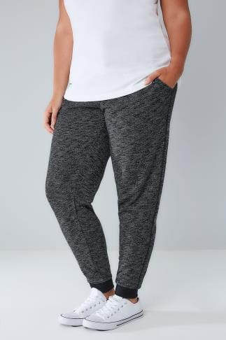 Joggers Full Length Grey Marl Joggers With Elasticated Waist & Cuff 100668