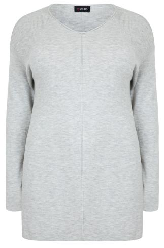 Grey Marl Knitted Longline Jumper With Ribbing Detail