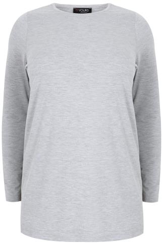 Grey Marl Long Sleeve Soft Touch Jersey Top