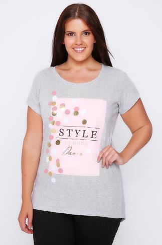 "Grey Marl & Multi ""Style"" & Spot Print T-Shirt With Short Sleeves"