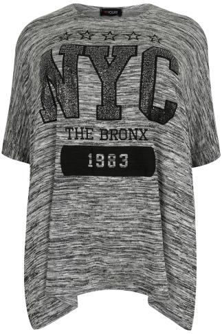 Grey Marl Oversize 'NYC' Print Batwing Top