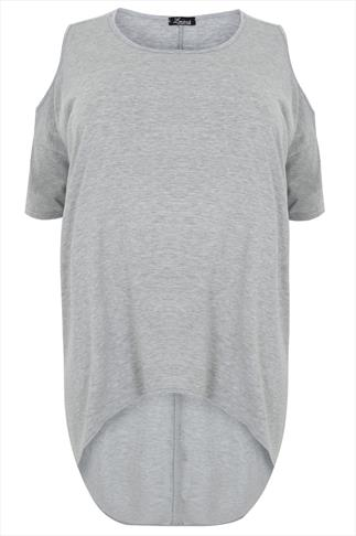 Grey Marl Oversized Top With Cold Shoulder Cut Out & Extreme Dipped Hem