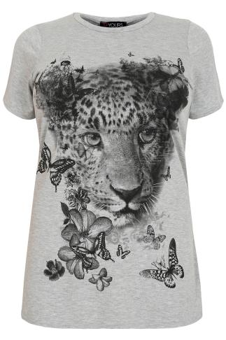Grey Marl Short Sleeved T-Shirt With Leopard Print