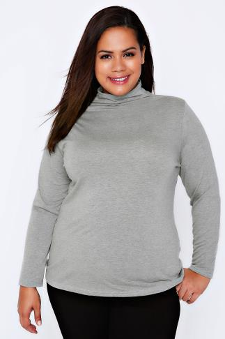 Grey Marl Turtle Neck Long Sleeved Soft Touch Jersey Top