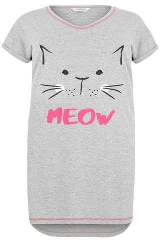 "Nightdresses & Chemises Grey ""Meow"" Glitter Cat Nightdress 148126"