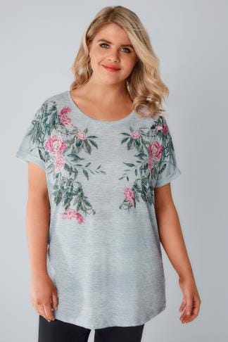Grey Mirrored Floral Print Jersey Top With Grown On Sleeves 170125