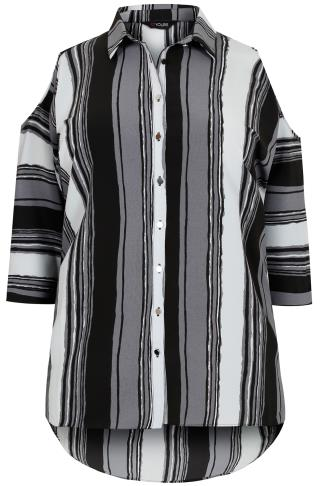 Grey Mix Stripe Cold Shoulder Shirt Plus Size 16 To 36