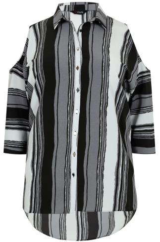 Grey Mix Striped Shirt With Cold Shoulder & Dipped Hem