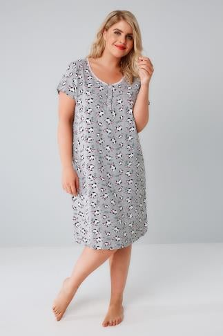 Nightdresses & Chemises Grey & Multi Moo Cow Print Nightdress 148051