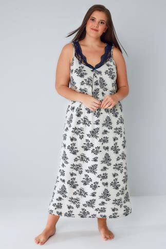 Nightdresses & Chemises Grey & Navy Floral Print Long Nightdress With Lace Neckline 148027